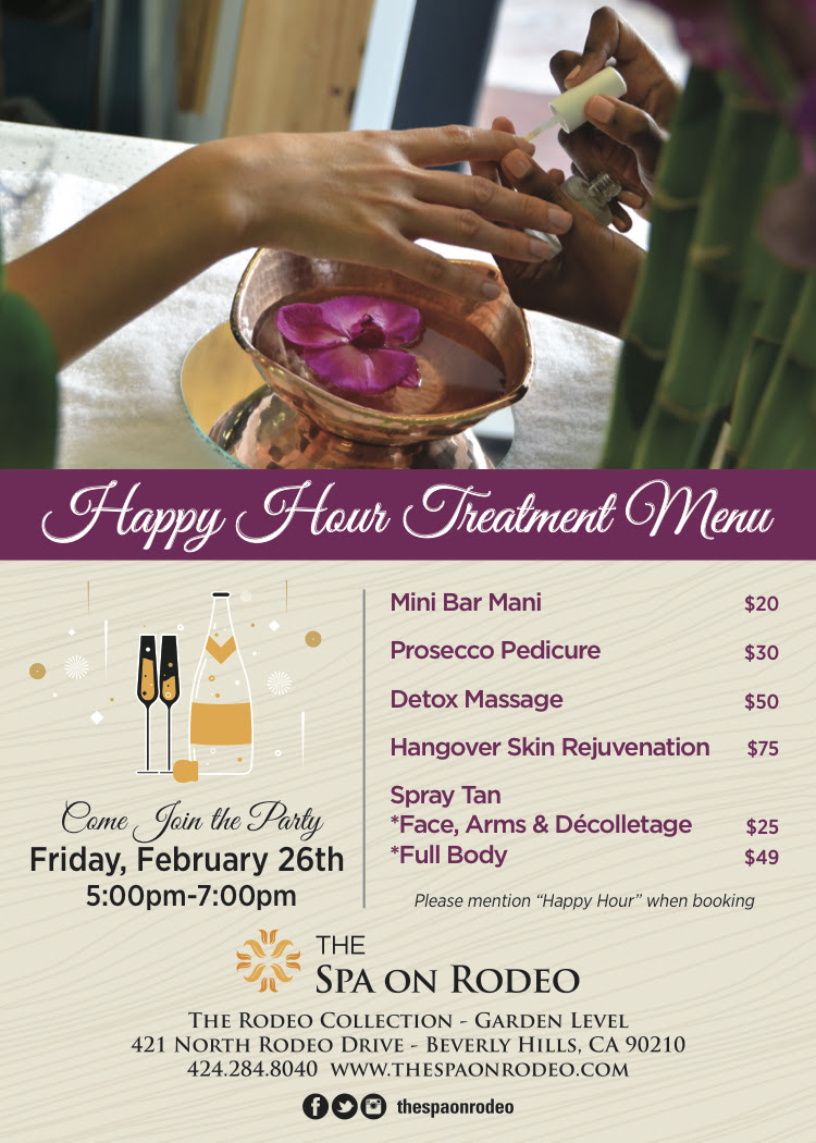 happy hour at the spa on rodeo friday february 26 my. Black Bedroom Furniture Sets. Home Design Ideas
